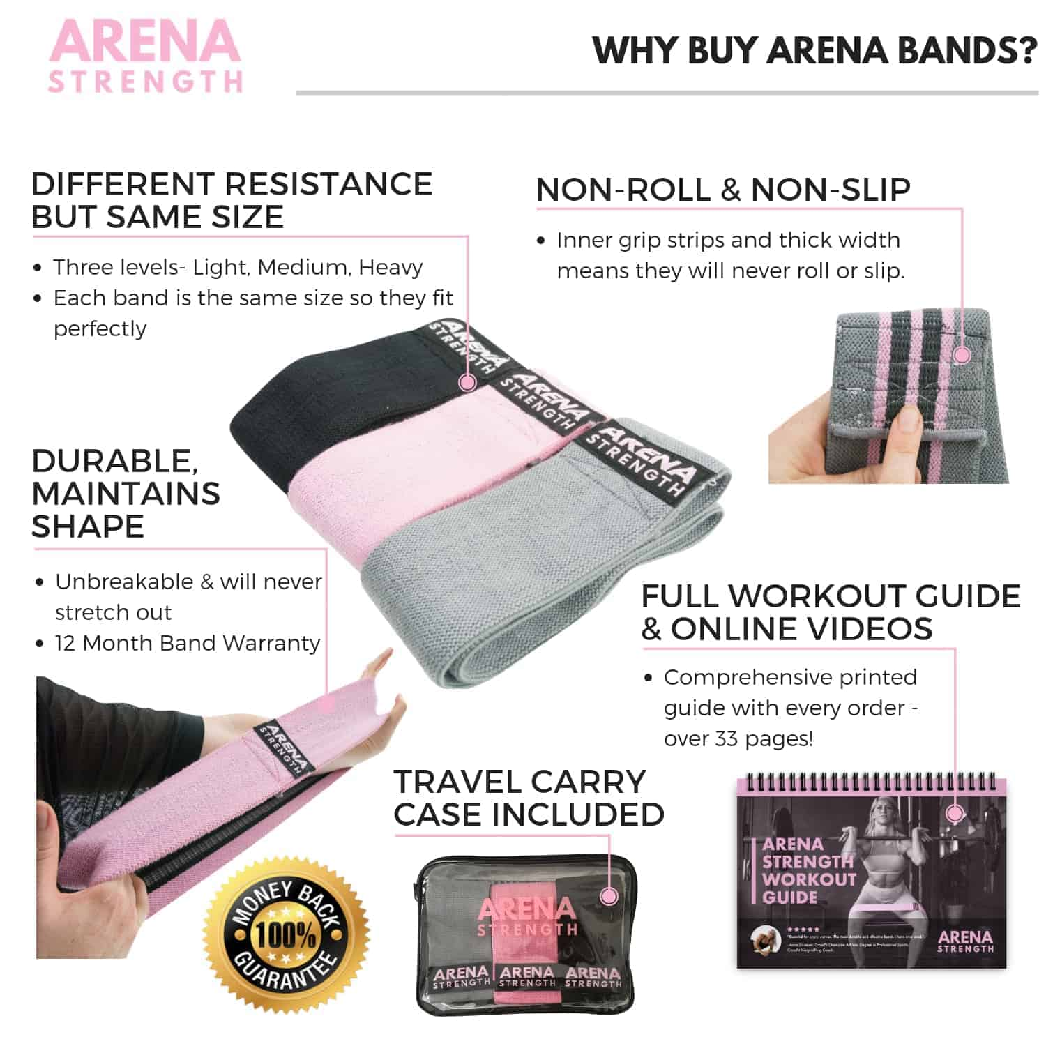 Moderne Fabric Booty Resistance Bands that will NEVER Break or Roll BN-54